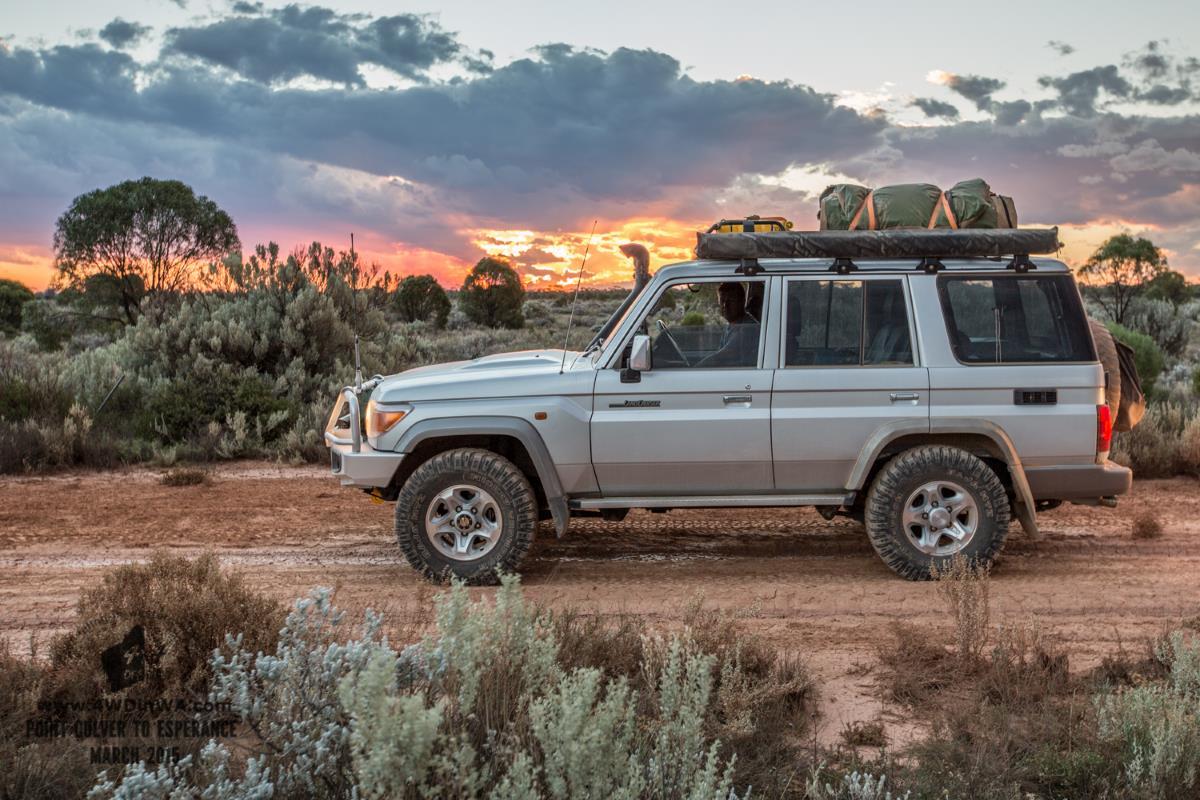 Toyota Land Cruiser in the West Australian sunset.