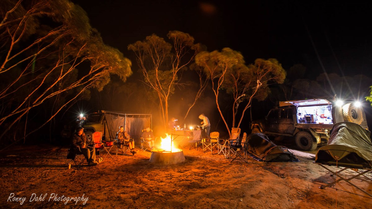 Camp fire at the Holland Track, Western Australia.