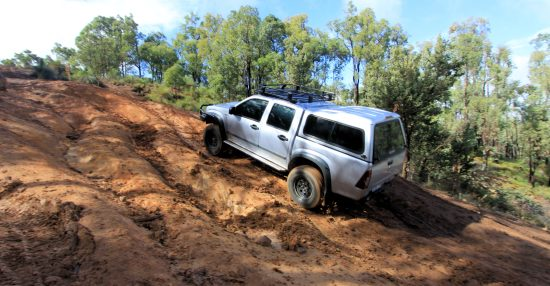 Clay based hill climb muddy at Mundaring.