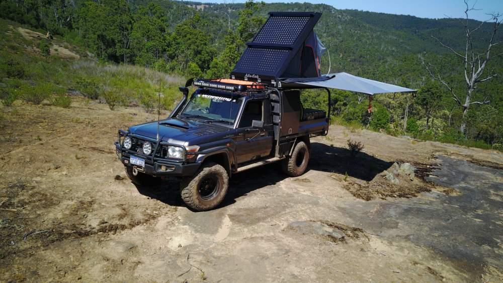Camping with the Landcruiser 79 series.