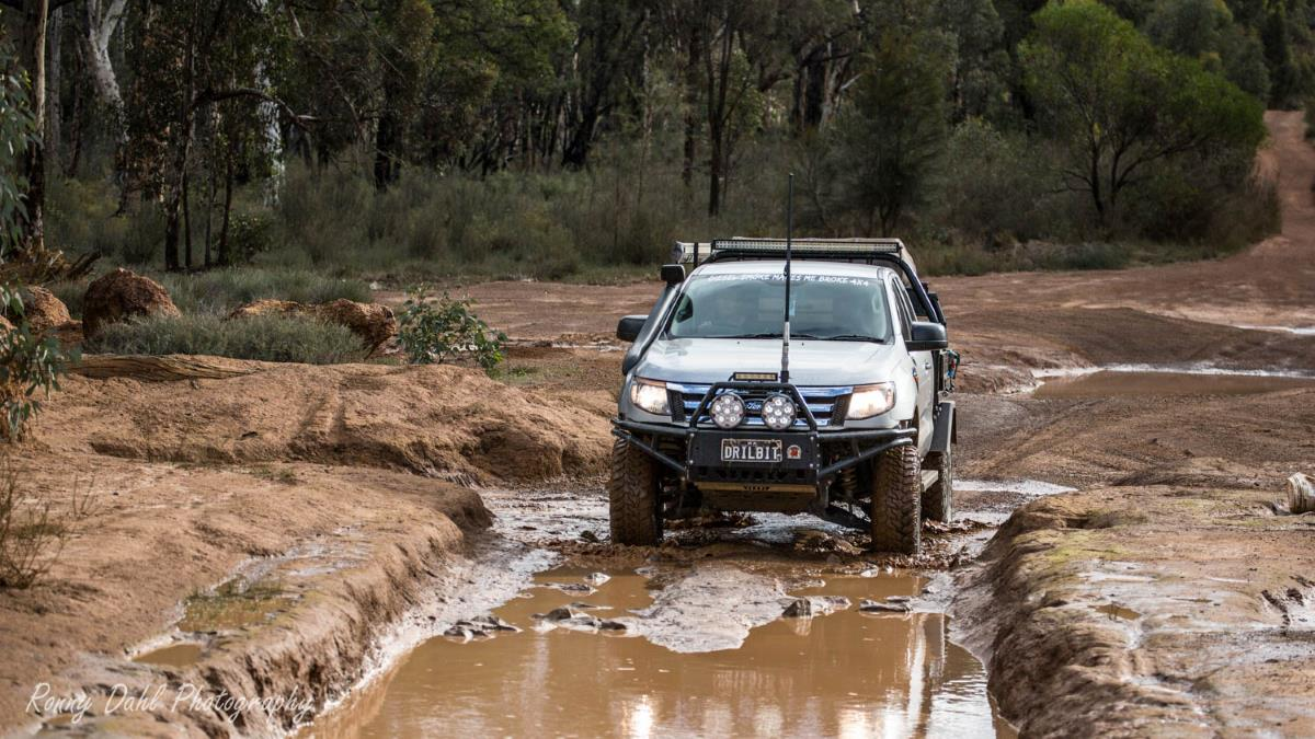 Ford Ranger PX, modified. Having fun on the Power line track in Perth.