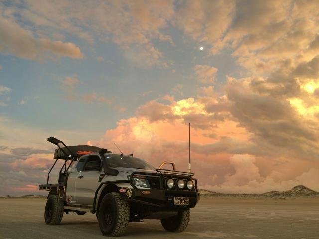 Ford Ranger PX, modified. In the sunset on the beach.