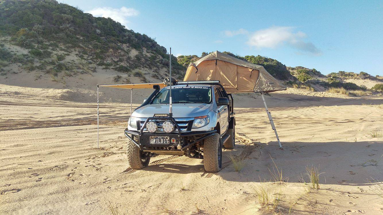 Ford Ranger PX, modified. Camping on the beach.