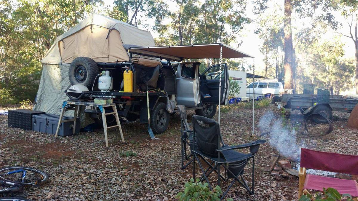 Ford Ranger PX, modified. Camping in the bush.