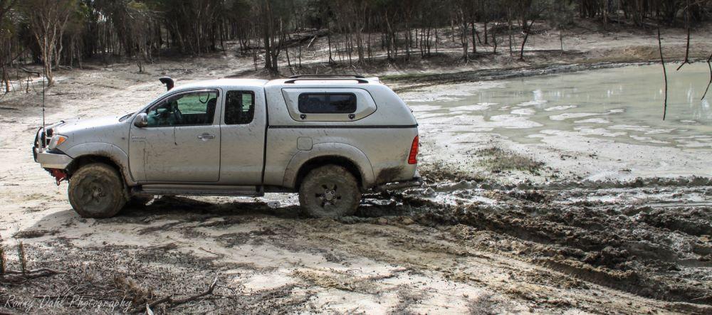Stuck in mud.