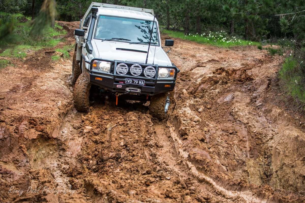 Toyota Land Cruiser in the mud.