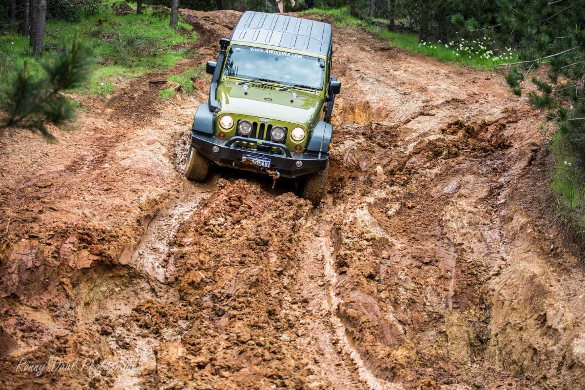 Hill descent with Jeep Wrangler at Harvey. Western Australia.