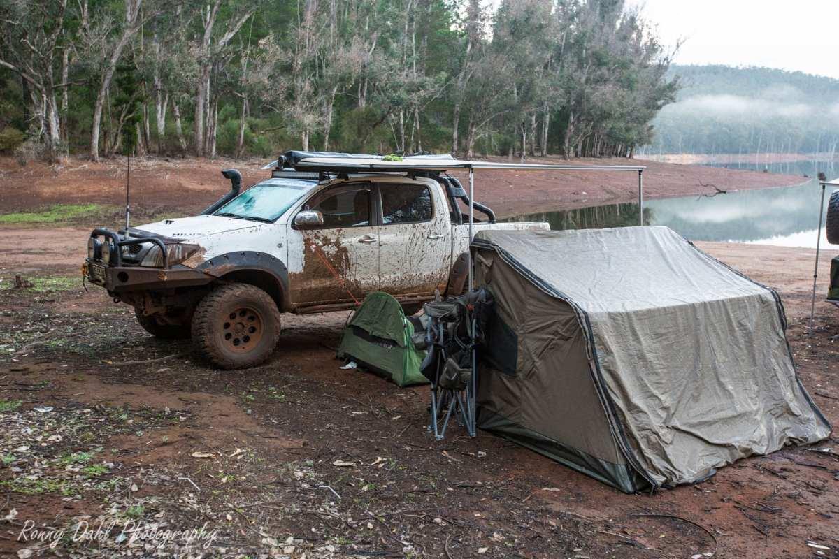 Camp at Harvey Dam, Western Australia.