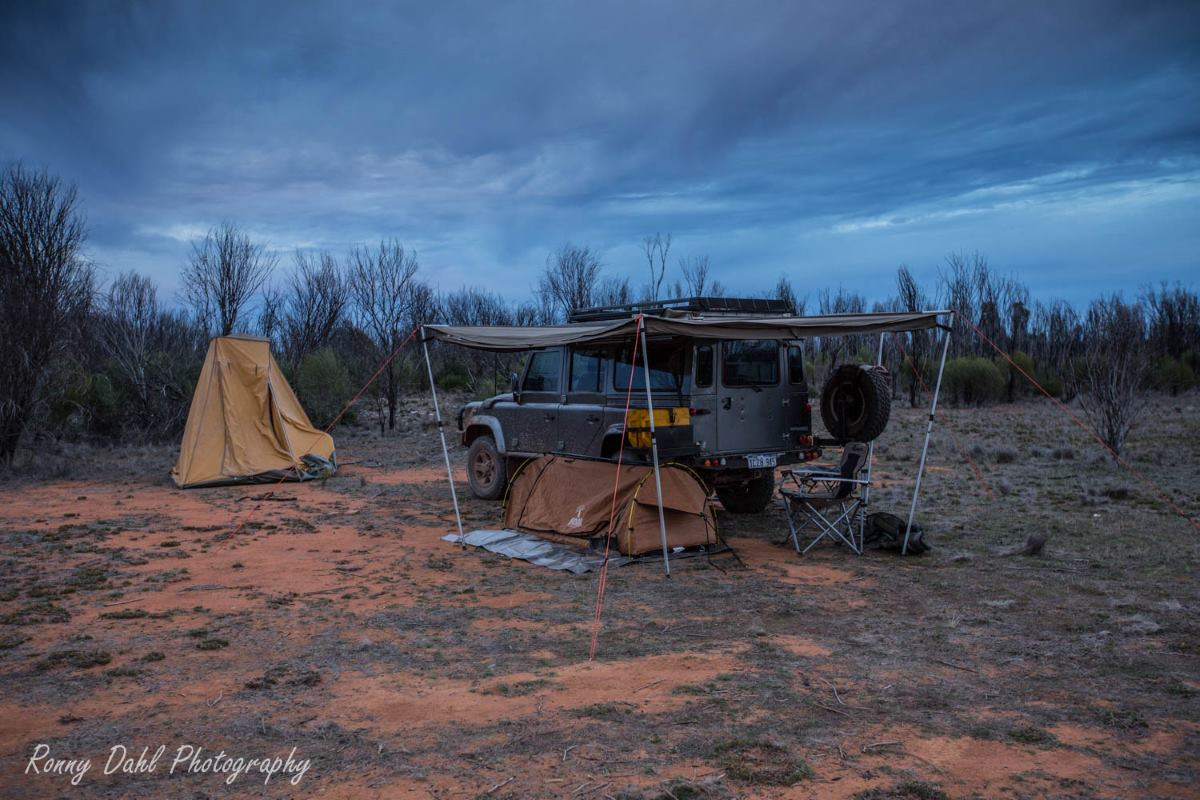 Camp at the Holland Track, Western Australia.