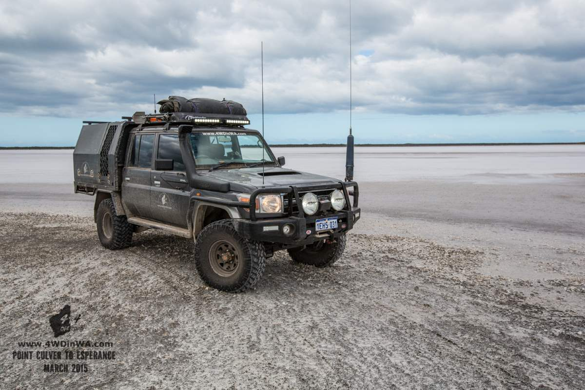 79 Series Landcruiser on the Salt pans, Western Australia.