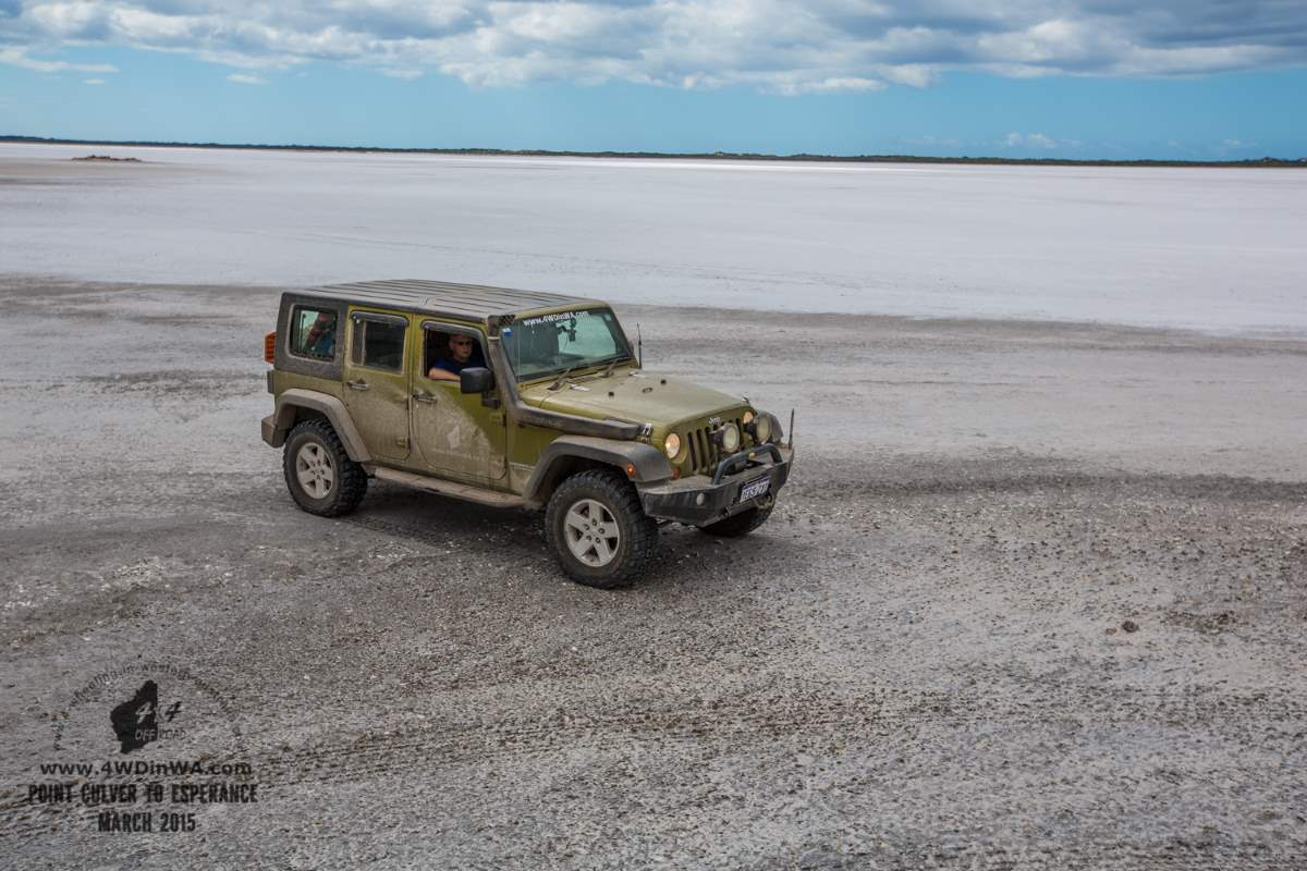 Jeep Wrangler JKU on the Salt pans, Western Australia.