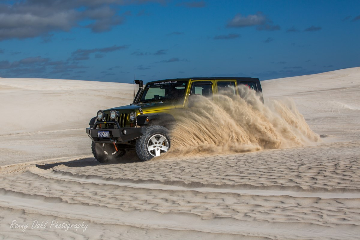 Jeep Wrangler in the sand dunes at Lancelin.