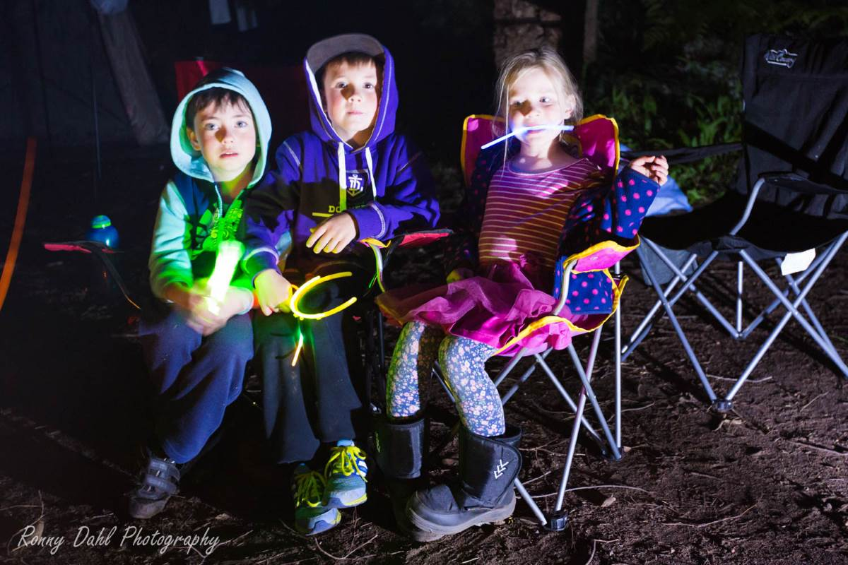 Night camp with kids.