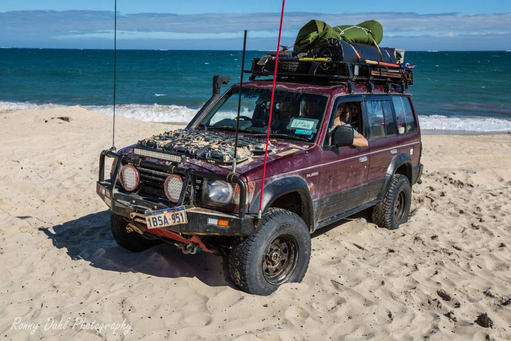 Mitsubishi Pajero NJ on the beach.