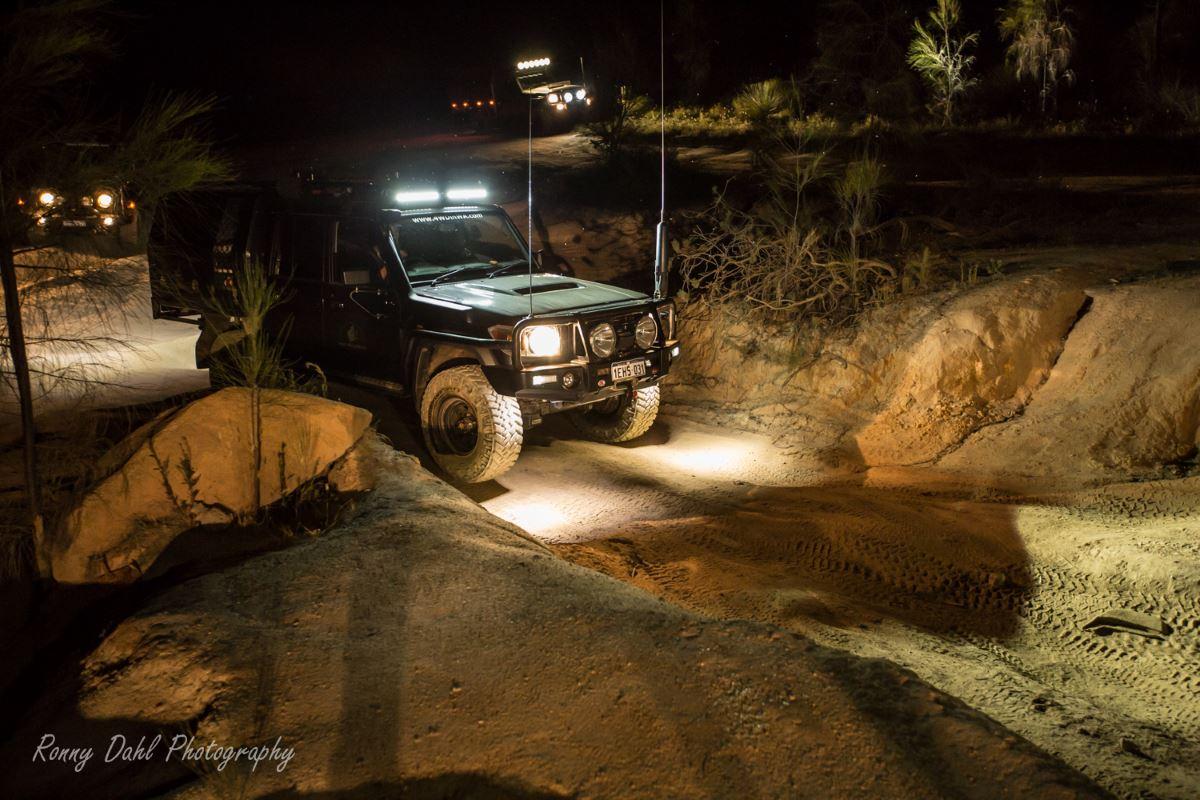 79 series Land Cruiser at night.