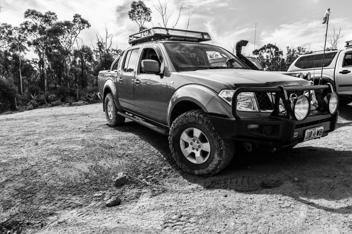 Nissan Navara on the Mundaring Powerline Track. Western Australia.