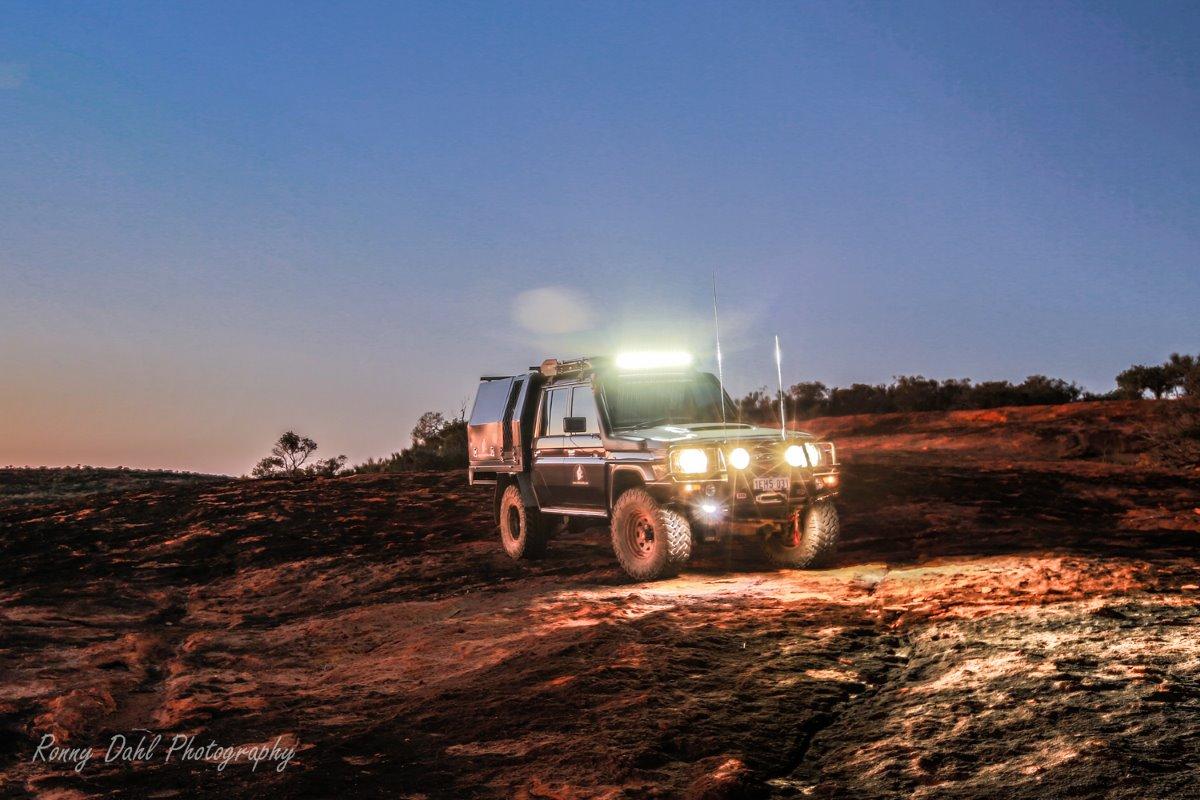 Toyota 79 Series Land Cruiser in the night.