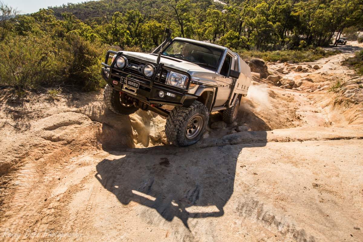 Toyota 79 Series on the Mundaring Power line track. Western Australia.