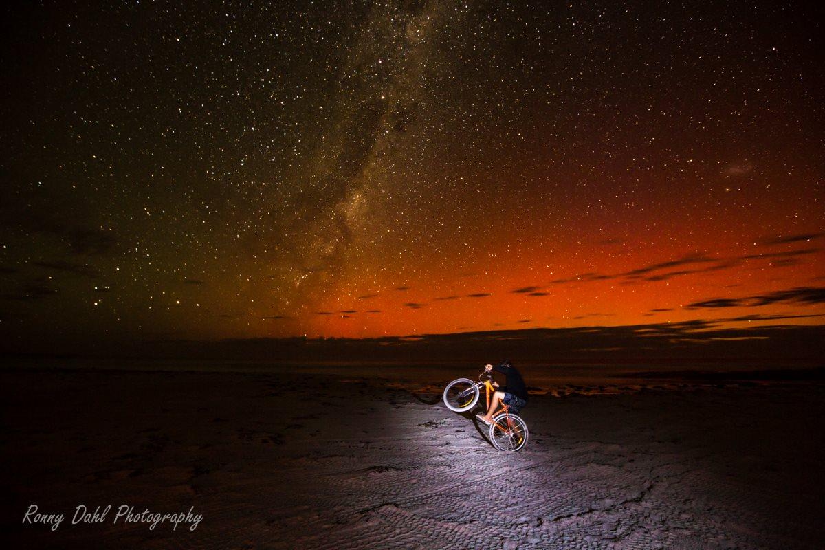 The bike on the beach.