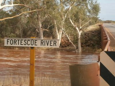 The Fortescue River running deep and Pilbara Red.