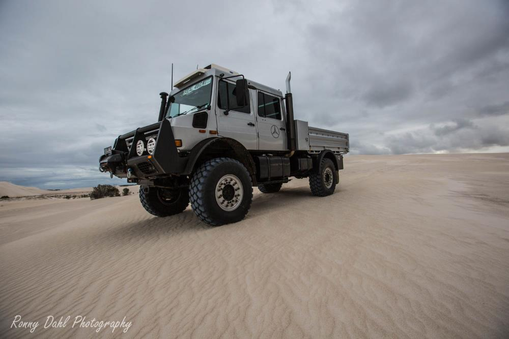 Mercedes-Benz Unimog in the sand dunes at Lancelin, Western Australia.