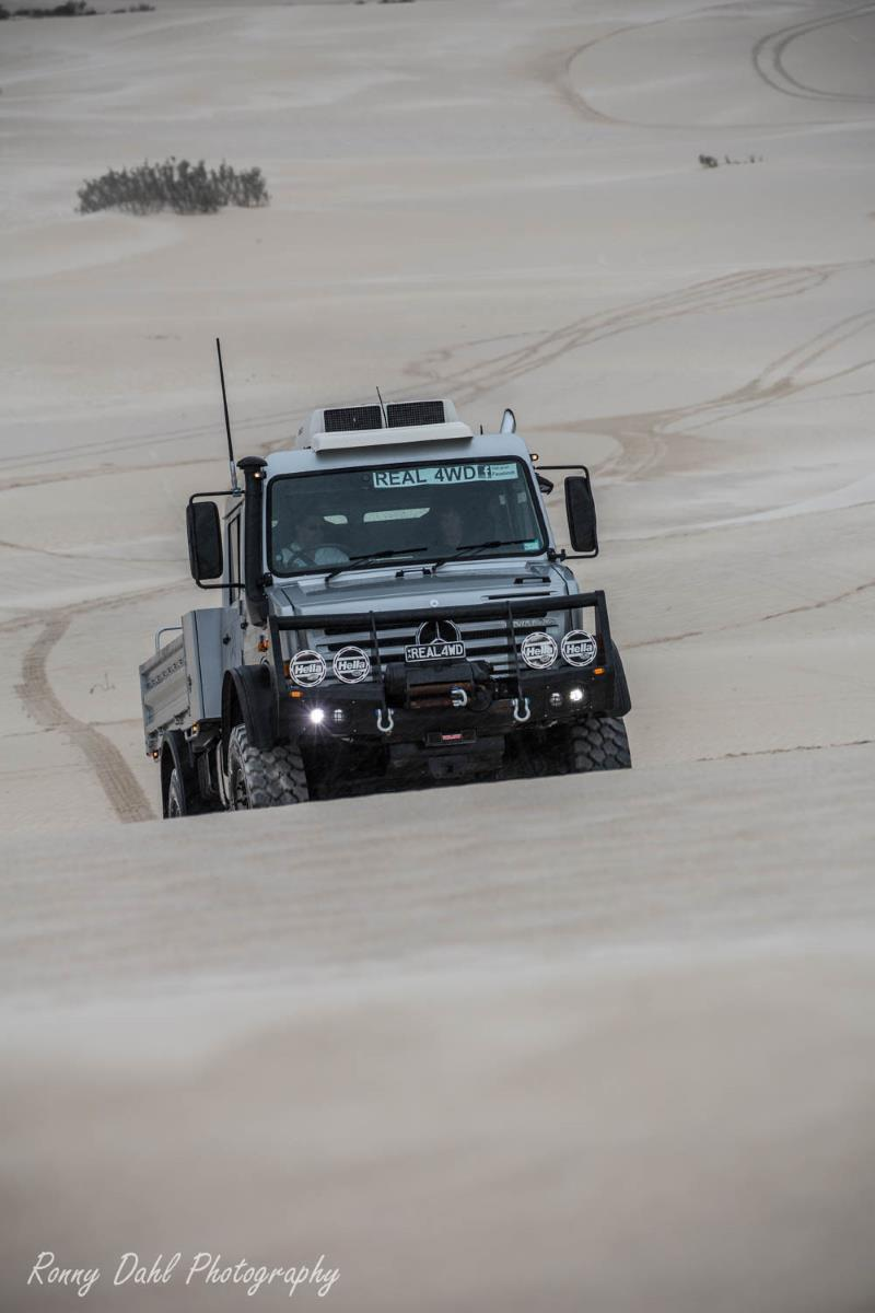 Mercedes Benz Unimog on the sand dunes at Lancelin in Western Australia.