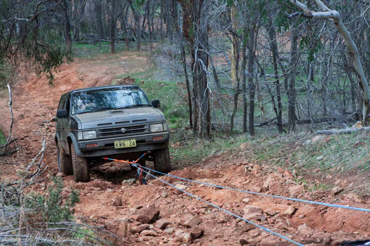Winching a Nissan Path Finder.